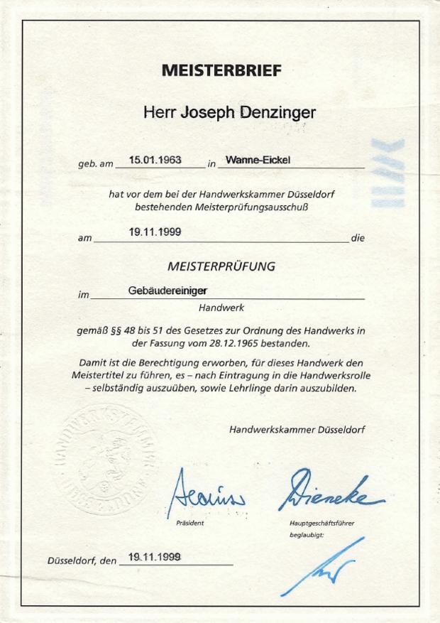 Meisterbrief Joseph Denzinger